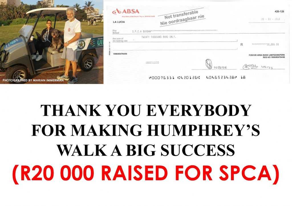 Humphrey raises R20 000 for the SPCA